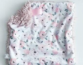 Blush Watercolor Floral Minky Lovey, Faux Fur Lovey, Blush Lovey, Floral Lovey, Fairytale Lovey, Pink Lovey, Girl Lovey, Lilac Lovey