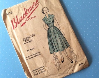 """Vintage Sewing Pattern - Blackmore 8416 - Retro 1940's Dressmaking Pattern - Dress Sewing Pattern - Size 12 Bust 36"""" Sewing - 1940's Style"""