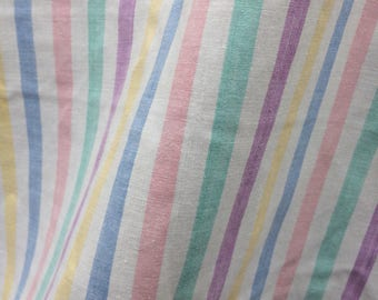 Vintage Stripy Fabric - Multi Coloured Stripe Fabric - Over 2m x 2m - Dressmaking Fabric - Craft Fabric