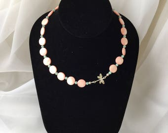 Light Pink MOP Necklace with Semi Precious Beads and Sterling Silver Charm