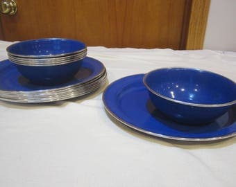 Blue Speckled Enamelware Plates And Bowlscamping Dishesblue Metal Platesblue