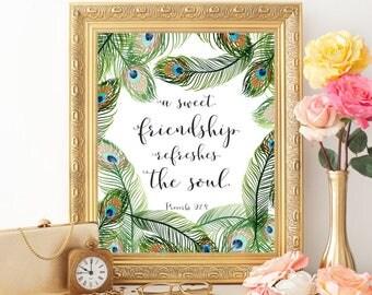 Bible verse art Proverbs 27:9 Bible verse wall art Christian wall art print A sweet friendship refreshes the soul Scripture wall art print