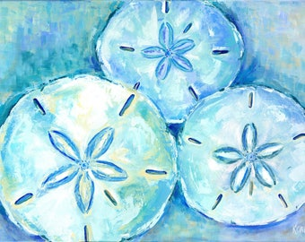 Sand Dollar Blues: 24 x 36 Limited edition signed & numbered giclee sand dollar print from original sand dollar painting