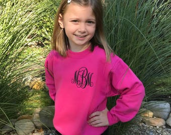 Monogrammed Youth Sweatshirt- Personalized Girls Crewneck- Youth Pullover