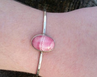 Vintage Sterling Silver Pink Agate Cuff Bracelet