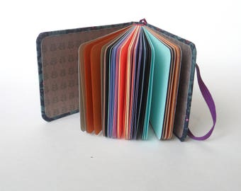 A6 notebook Blank book Color pages journal diary  Fabric covered journal Mixed paper pocket book Back to school