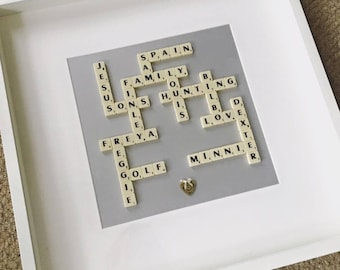 Scrabble Frame - A Unique and Personalised Gift for Birthdays, Anniversaries, Mother's Day, Father's Day, Christmas & other occasions