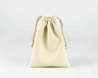 Soft PU Leather Drawstring Bag, Small String Pouch, Jewelry Bag, Gift Bags, Begie