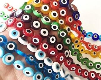 PROMO Evil eye beads 12mm for necklace bracelet, flat round evil eye beads, evil eye lamp glass beads set of 30, turkish eye beads, nazar bo