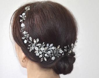 Bridal hair piece, bridal headpiece, bridal hair vine, wedding hair vine, long hair vine, wedding hair piece, floral hair piece, boho wreath