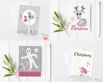 Christmas Card Pack, Xmas Cards, Greeting Card, Gingerbread Man, Deer, Christmas Illustration, Holiday Card, Christmas, Scandi christmas