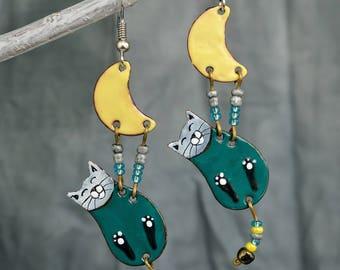 Enamel Earrings, Cat Earrings, Enamel Jewelry, Cat Jewelry, Cat Shaped Earrings, Boho Earrings, Enameled Earrings, Turquoise, For Cat Fans,