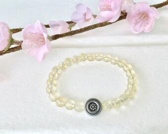 Citrine Bracelet, 6mm beaded bracelet