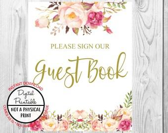 Vintage Gold Floral Boho Please Sign Our Guest Book Sign, Gold Flower Boho Wedding Sign, Printable, Bridal Shower, Baby Shower Sign