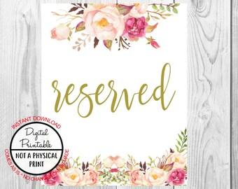 Vintage Gold Floral Boho Reserved Sign, Flower Boho Wedding Sign, Printable, Instant Download, Bridal Shower, Baby Shower Sign