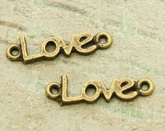 """Connectors""""LOVE"""" metal bronze set of 10"""