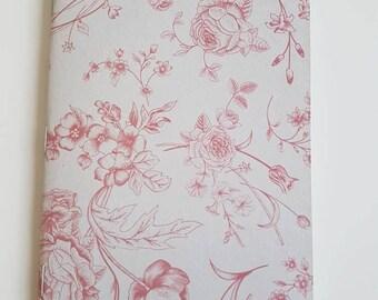 A6 Notebook // Jotter // Handmade notebook // Floral sketchbook // Blank Journal // Pink Notebook