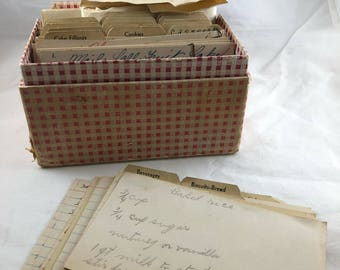 Red Plaid Recipe Box - Old Recipes - Recipe Storage - Kitchen Organization - Recipe Card Holder - Kitchen Decor - Vintage Recipes in Box