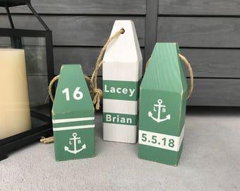 Custom Wedding Lobster Buoys (Set of 27) - Wooden Buoys, Nautical Decor, Buoy Decor, Ocean Decor, Beach Decor