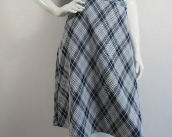 1970s St. Michael Blue Checked Skirt UK 12