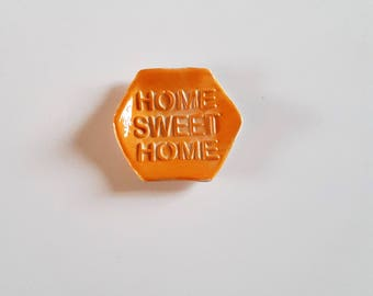 "Rests ""Home sweet home"" ceramic tea bag bright neon orange, gift for MOM, orange ceramic, ceramic tea bag"