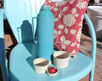 1960's - 70's Vintage Thermos - Glass Insulated - 13 1/2 Inches Tall - Teal Aqua Blue w/ Sand / Beige Cap, and 2 cups - Excellent Condition