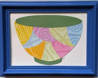 Framed original paper collage art, Pitchers and Bowls Series 2016 #4