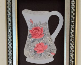 Framed original paper collage art, Pitchers and Bowls Series 2016 #17