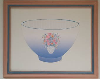 Framed original paper collage art, Pitchers and Bowls Series 2016 #26