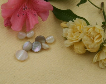 Set of 8 Tiny Vintage Mother-of-Pearl Buttons