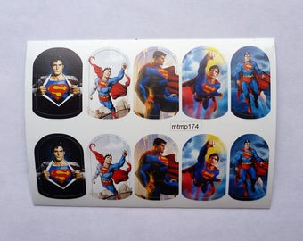 Nail Wraps, Superman, Nails, Full Cover, Nail Wraps, Nail Decals, Nail Stickers, Halloween, Christmas Nails, Beauty Nails