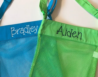 Monogrammed Sea Shell Tote / Mesh Shell Tote / Monogrammed Kids' Beach Tote