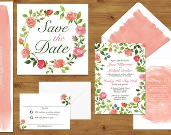 Rose Bush Wedding Invitations Stationery Set - Printed or Digital Download - Rose Wedding - Pink Wedding - Peach Wedding - Wedding Printable