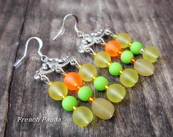 Earrings boho silver, glass beads.