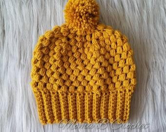READY TO SHIP Crochet Puff Pom Pom Hat, Adult Puff Pom Pom Hat, Puff Pom Pom Beanie, Pom Pom Beanie