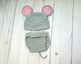 Crochet Baby Mouse Costume, Newborn Mouse Outfit, Baby Animal Outfit, Newborn Photo Set, Diaper Cover Outfit, Baby Shower Gift, Baby Clothes