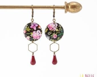 Resinees earrings round Hexagon black floral pattern
