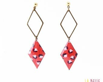 double Stud Earrings diamond, red floral resin Locket