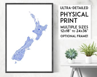 Waterways of New Zealand print | Physical New Zealand map print, New Zealand poster, NZ print, New Zealand wall art, NZ map, New Zealand art