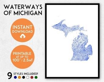 Michigan map print, Printable Michigan map art, Michigan print, Michigan art, Michigan poster, Michigan wall art, Michigan gift, USA map art