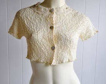 Vintage Cream Lace Crop Top with Rosettes and Iridescent Heart Buttons
