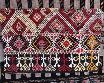 Vintage Handmade Pillowcase made of handmade vintage Turkish Kilim - 16 in by 24 in