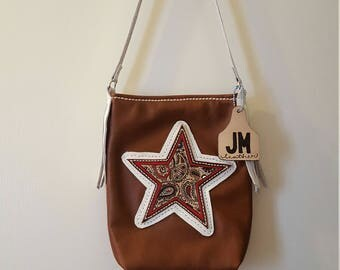 Leather Paisley Star Purse