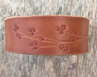 Leather Bracelet with Red Buds