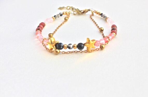 semi-precious stones bracelet : obsidian, cherry quartz, rhodonite, jaspe dalmatian