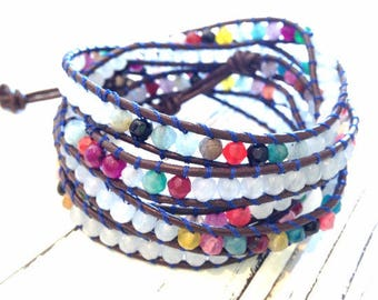 wrap bracelet 5 turns leather and jade natural stone
