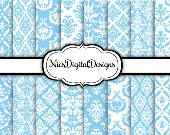 Buy 2 Get 1 Free-16 Digital Papers. Mixed Damask in Baby Blue and White (9 no 4) for Personal Use and Small Commercial Use Scrapbooking