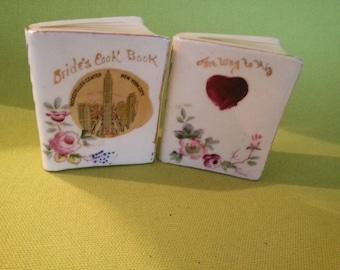 Vintage Ceramic Hand Painted Bride's Cookbook Salt and Pepper Shaker Set