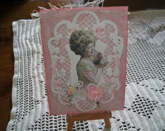 card envelope attached to card with pretty portrait