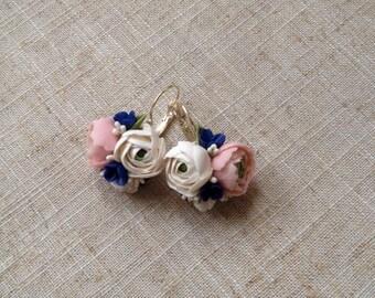 Flower earrings-Earrings with flowers-Jeweler with peonies-Peony earrings-pink peonies-wedding earrings-peonies made of polymer clay